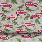 Jerseystoff Kinderstoff Dinosaurier Jeep rot grün gelb creme Saurierpark J8828-212