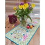 Materialpackung Tischläufer *Pastellblumen* 80 cm x 36 cm Blumen grün türkis rosa weiß MP21-0026