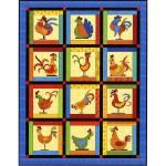 Nähanleitung *Funky Chicken* FatCat Patterns Huhn Quilt 60 Inch x 77,5 Inch Quilt FCP-013