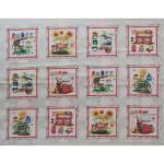Patchworkstoff Quilt Panel Stoff *Fresh Picked Farm Stand* Marktstand Früchte Honig Blumen rot weiß grün blau PB FRES-239-MU