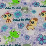Kinderstoff Baumwollstoff Patchworkstoff *Littlest Pet Shop* Herz Frosch Affe Katze bunt H21-0002