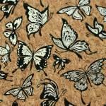 Korkstoff Nähkork Kork 18 x 25 Inch 46 x 63 cm Sallie Tomato *Silver Butterflies* Pro Lite Cork Schmetterlinge braun silber schwarz HCFSILV Schmetterlinge