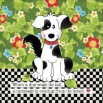 Patchworkstoff Quilt Art Panel *Black & White Puppy* Hund schwarz weiß grün AP6.68
