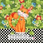 Patchworkstoff Quilt Art Panel *Cat Gift* Katze orange grün AP6.70