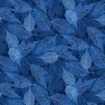 Baumwollstoff *Midnight Woods* Blätter blau MIWO4350-B