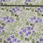 Patchworkstoff Quiltstoff *Pretty Face* Stiefmütterchen Blumen Gießkanne lila grün creme NC2340