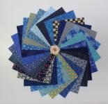 Stoffpaket 25 Quadrate 5 x 5 Inch/ 12,7 x 12,7 cm blau SP21-0007