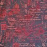 Baumwollstoff *Believe* Schrift Postcard Stempel rot braun HG 2082