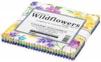 Charm Pack *Wildflowers* 42 Squares 5 x 5 Inch Wildblumen blau gelb grün türkis weiß lila orange CHS-968-42