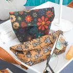 Materialpackung *Brillenetui & Täschchen* Korkstoff Nähkork Blumen Schmetterlinge MP21-0202