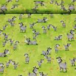 Patchworkstoff *Hildy-Goats in Meadow* Susybee Ziegen Bienen Blumen Wiese grau weiß gelb grün orange 20281-810