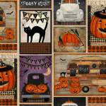 Patchworkstoff *Spooky Night* Halloween Kürbis Katze Fledermaus Rabe Auto schwarz lila orange weiß 18111-MLT
