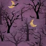Patchworkstoff *Spooky Night* Rückseite zum Stoffpaket *Halloween* Baum Fledermaus Rabe Mond schwarz lila gelb  18114R