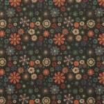 Korkstoff Nähkork Kork 17 3/4 x 27 3/4 Inch 45 x 70,5 cm Sallie Tomato Retro Floral Blumen schwarz rot blau creme  HCFRETR.1