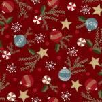 Patchworkstoff Flanell *Red Trimmings* Flannel Baumschmuck Stern Tannenzweig Christbaumkugel Stechpalme rot weiß blau F9934M-R