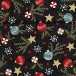 Patchworkstoff Flanell *Charcoal Trimmings* Flannel Baumschmuck Stern Tannenzweig Christbaumkugel Stechpalme rot schwarz weiß blau F9934M-JK