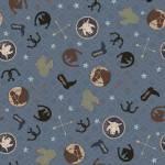 Baumwollstoff Patchworkstoff *Hold Your Horses* Hufeisen Pferd Cowboy Stiefel Kaktus Texas blau braun creme Y3107-89