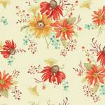 Patchworkstoff *Autumn Main Cream* Herbst Blumen orange gelb creme rot türkis C10820R-CREA