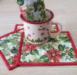 Materialpackung Mug Rug 4 Stück *Weihnachtsstern* rot gold creme grün MP21-0207