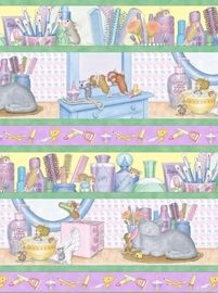 Patchworkstoff Stoff Quilt Mäuse im Badezimmer Streifen Border Bordüre SO SÜSS!
