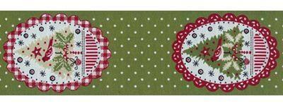 Schmuckwebband Weihnachtsovale grün 5 cm breit