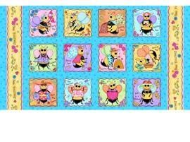 Patchworkstoff Stoff Quilt Bienen Panel auf blau 60x110cm