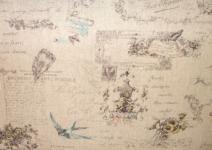 Patchworkstoff Quilt Stoff Japan alte Schrifft auf beige Vögel Blumen 15% Leinen