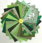 Patchworkstoff 25 Quadrate 5 Inch/12,7cm Mix grün