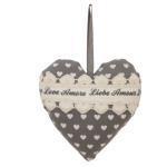 Clayre & Eef, Dekorations Herz LOVE Liebe Amor dkl. grau/schwarz weiss