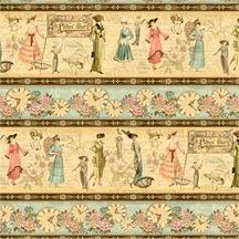 Patchworkstoff Quilt Stoff A Ladies' Diary Vintage Streifen Border