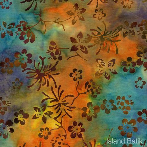 Patchworkstoff Quilt Stoff Batik Blumen blau orange