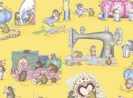 Patchworkstoff Sew Much Fun Mäuse & Nähen Maschine auf gelb