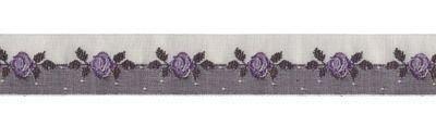 Schmuckwebband Rosenranke grau-brombeer, 2 cm breit