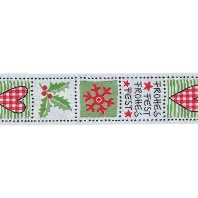 Schmuckwebband Weihnachtsquadrate ca.3cm breit