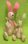 Materialpackung 2 Zwei-Ohr-Hasen pastell rosa grün MP21-0001