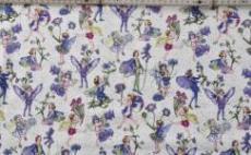 Patchworkstoff Elfe, Fee, Flower Fairy Kornblume Beistoff weiß