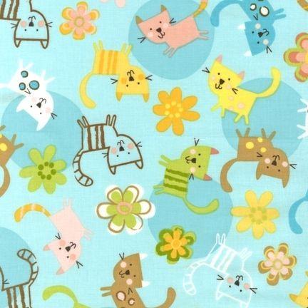 Patchworkstoff Quilt Stoff R. Kaufman Katzen auf hellblau
