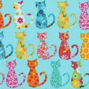 Patchworkstoff Happy Hills Calico Cats aqua, abstrakte Katzen auf türkis