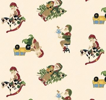 Patchworkstoff Quilt Weihnachts-Elfen auf beige 45x110cm