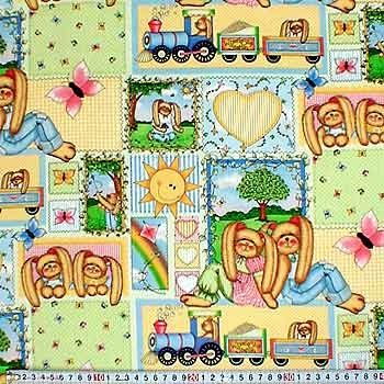Patchworkstoff Ostern Hasen Patch gelb Whistle Stop
