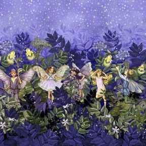 Patchworkstoff Quilt Stoff Fee, Elfe, Night Flower Fairy Border