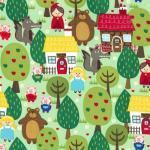 Patchworkstoff Quilt Stoff Into the Forest Rotkäppchen und drei Schweine
