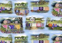 Patchworkstoff Country Quilts Bilder Stoff Panel 50x110cm