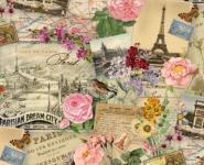 Patchworkstoff Quilt Stoff Spring in Paris Szene cream mit Blumen, Postkarten