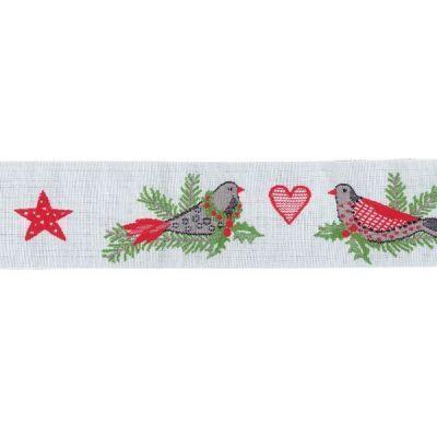 Schmuckwebband Weihnachtstauben ca. 3 cm breit
