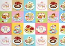Patchworkstoff Stoff Quilt Bake Backen Labels Kuchen in bunten Quadraten