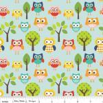 Patchworkstoff Quilt Stoff Riley Blake Lazy Day Eulen mix auf blau