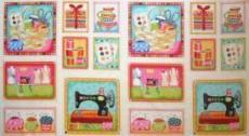 Patchworkstoff Panel Bilder Nähen Nähmaschine, Garn, Knöpfe  55x55cm