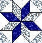 Quilt Block Anleitung mit Stoff EIGHT-POINTED STAR 12,5 Inch Quadrat FB-11