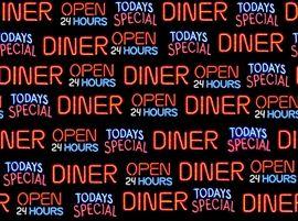 Patchworkstoff Stoff Quilt Diner Schrift Open 24 Hours Restaurant 24 Stunden geöffnet